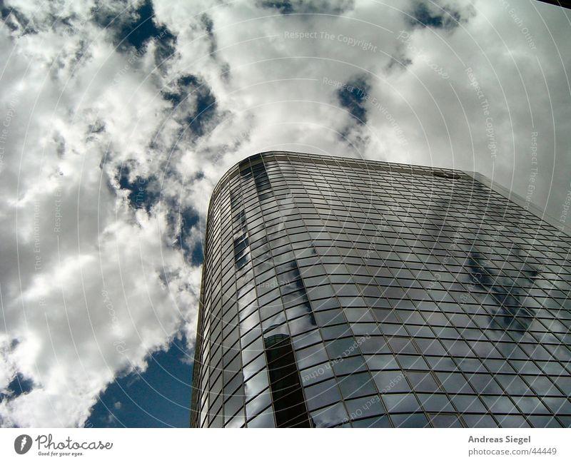 skywards Frankfurt High-rise Clouds Modern mainhattan Sky Banking district Blue