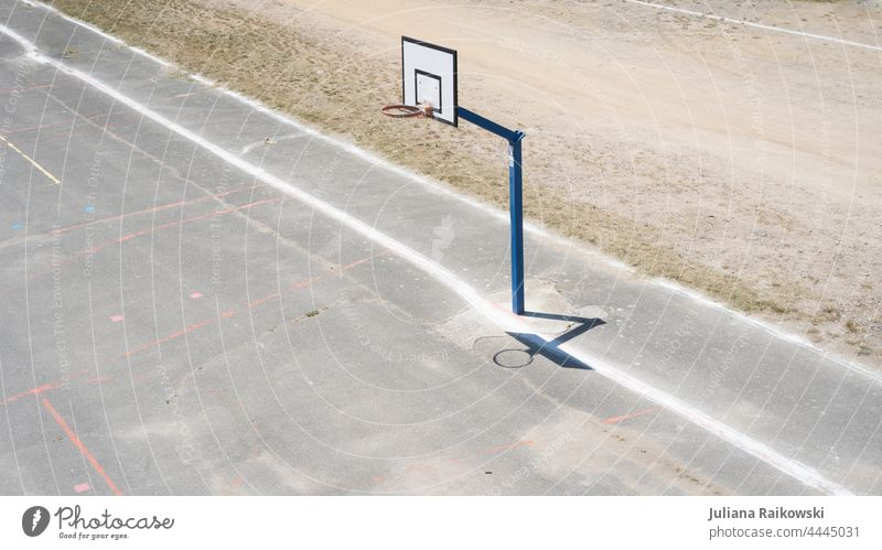 empty basketball court Basketball basket Sports Ball sports Playing Deserted Exterior shot Leisure and hobbies Colour photo Sporting Complex Basketball arena
