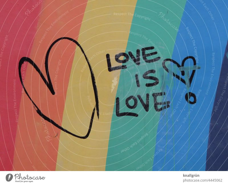 Love is love! Prismatic colors Heart Emotions Declaration of love Graffiti Romance Display of affection Wall (building) With love colored Stripe