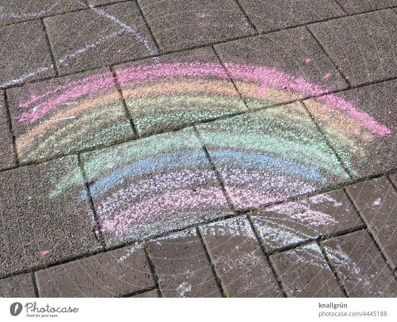 rainbow Rainbow Street art variegated Prismatic colors Prismatic colour Multicoloured Colour Deserted Painted children's painting Sidewalk Pattern street chalk