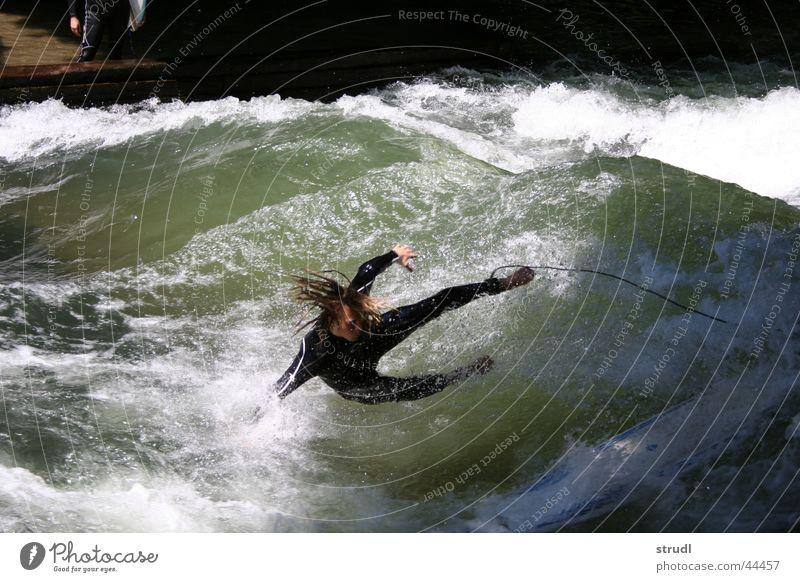 Water Sports Waves Wet Safety Dangerous River Threat Munich To fall Surfing Sudden fall Brook The Englischer Garten Collateralization Eisbach