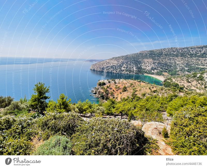 The coast of the Greek island Thasos with barren rocky landscape and turquoise sea Ocean Island Greece Turquoise Sparse Landscape Rock Rocky coastline Summer