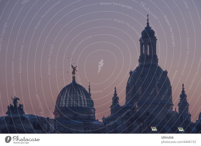 """Dresden, Saxony, Germany: Silhouette of the domes of Frauenkirche Church and Academy of Fine Arts (""""Kunsthochschule"""") in the twilight of the evening. church"""