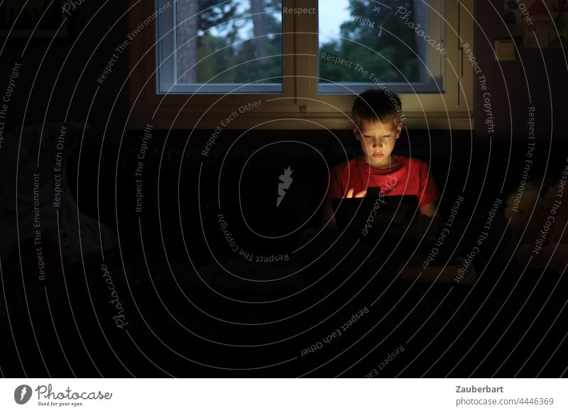 Little boy sits with tablet in dark room in front of window Boy (child) Small Playing Dark Red Child Tablet computer Infancy Digital Internet media competence