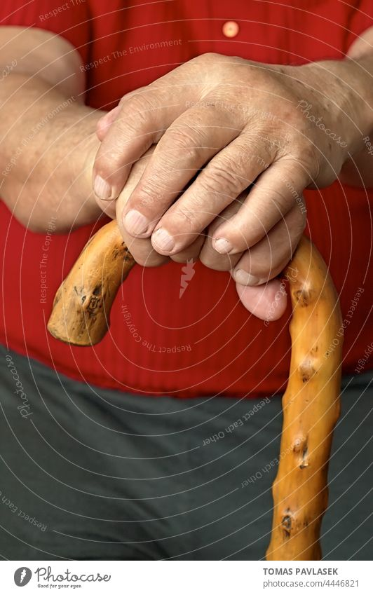 Sitting senior holding a wooden stick adult age aged aging aid blur cane closeup close-up disease hand handicap hands home house human illness life lonely male