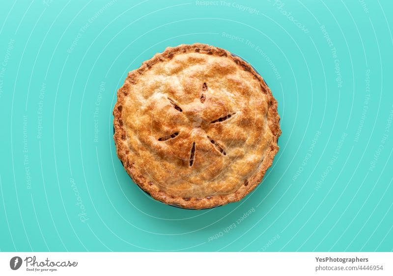 Apple pie above view, isolated on a green background american apple autumn baked bakery baking cake christmas classic color copy space crust cuisine cut out