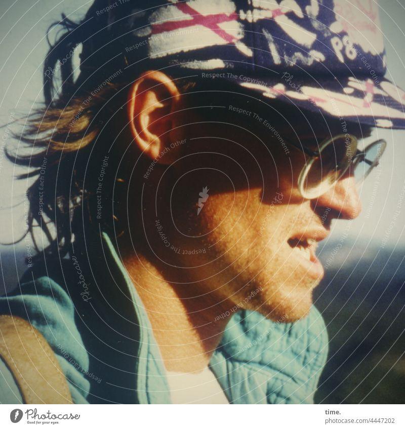 miner Eyeglasses cap Profile Jacket Designer stubble Summer Mountaineer Blonde Hat Headwear Back-light mountain