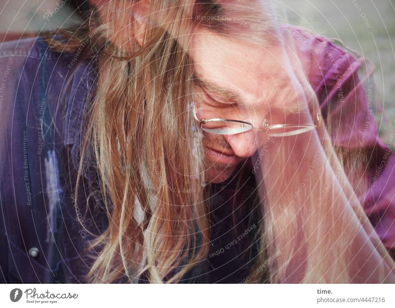 Art Working Hero portrait Downward colored reflection Eyeglasses Long-haired Blonde strained hollowed focused concentrated Concentrate