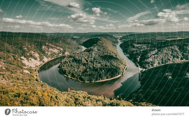 Saar loop in late summer Saarland River river bend Highlands Landscape Mountain Water Forest Panorama (View) Sky Vacation & Travel Clouds Tourism Exterior shot