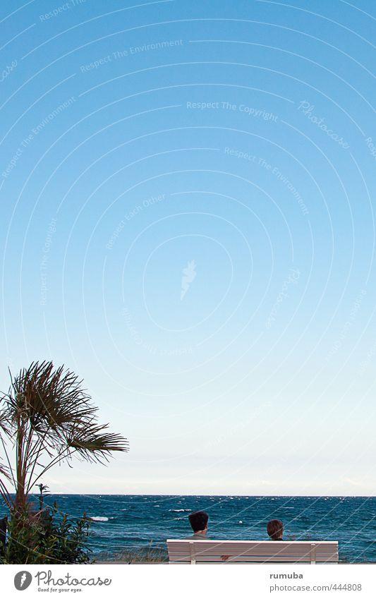 Human being Sky Vacation & Travel Blue Water Summer Sun Tree Ocean Calm Beach Far-off places Feminine Head Horizon Air