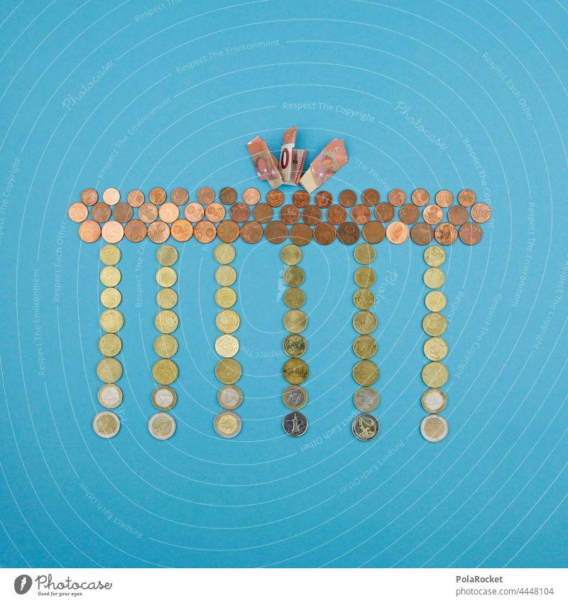 #A0# Monetary policy - Berlin has keen Jeld Brandenburg Gate Landmark Money Coins Symbols and metaphors Capital city Monument Architecture cash Loose change