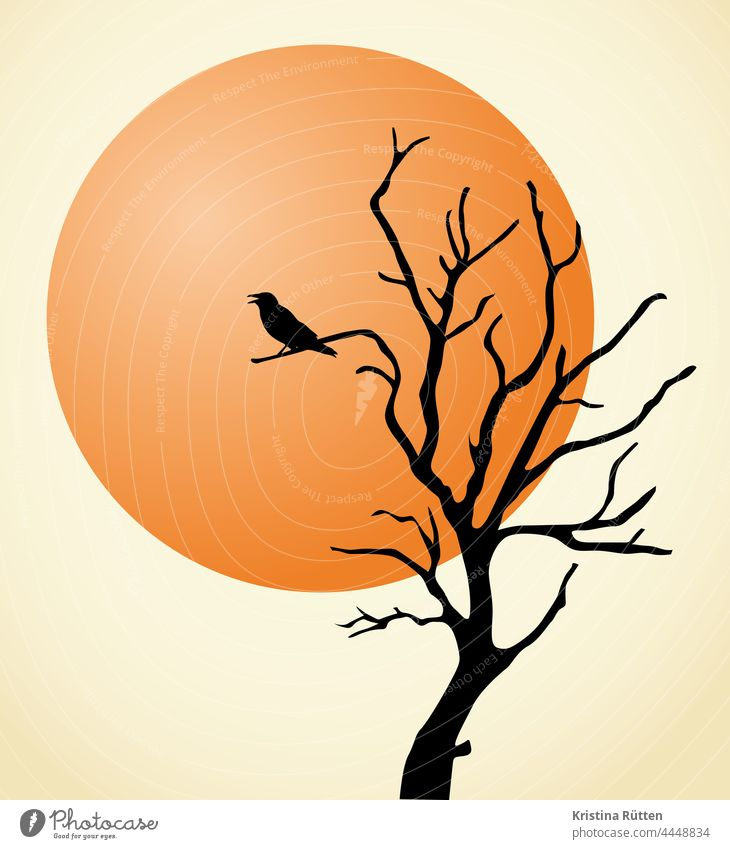 raven and blood moon Raven Bird Crow Jackdaw Tree Moon Silhouette Moody Mysterious Eerie Mystic Fabulous atmospheric Hallowe'en spooky illustration