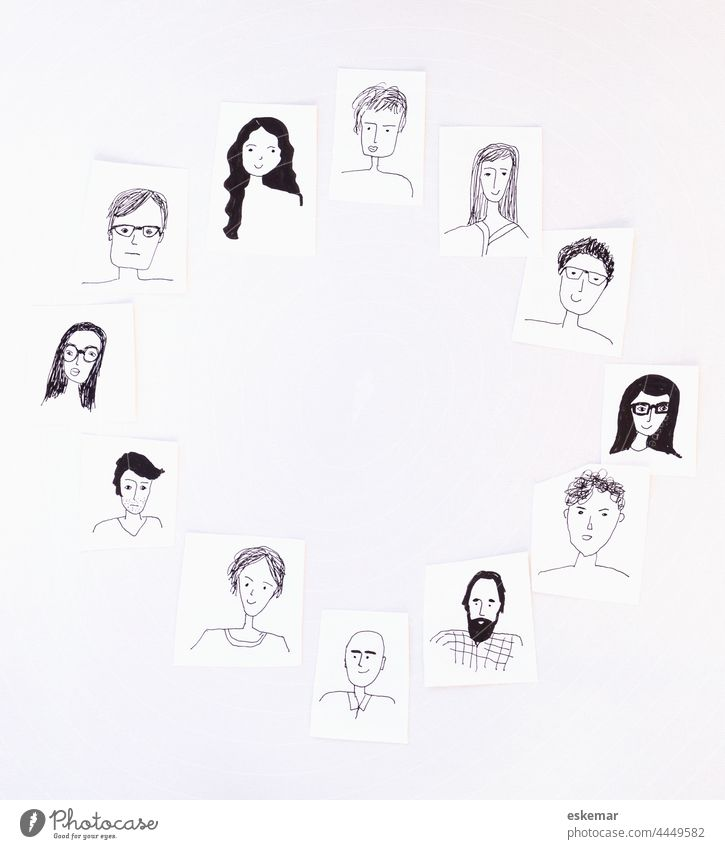 faces Face people Circle Round Woman Man Many Earmarked Drawing Art Copy Space background White whiter women portrait portraits Funny Drawings Human being group
