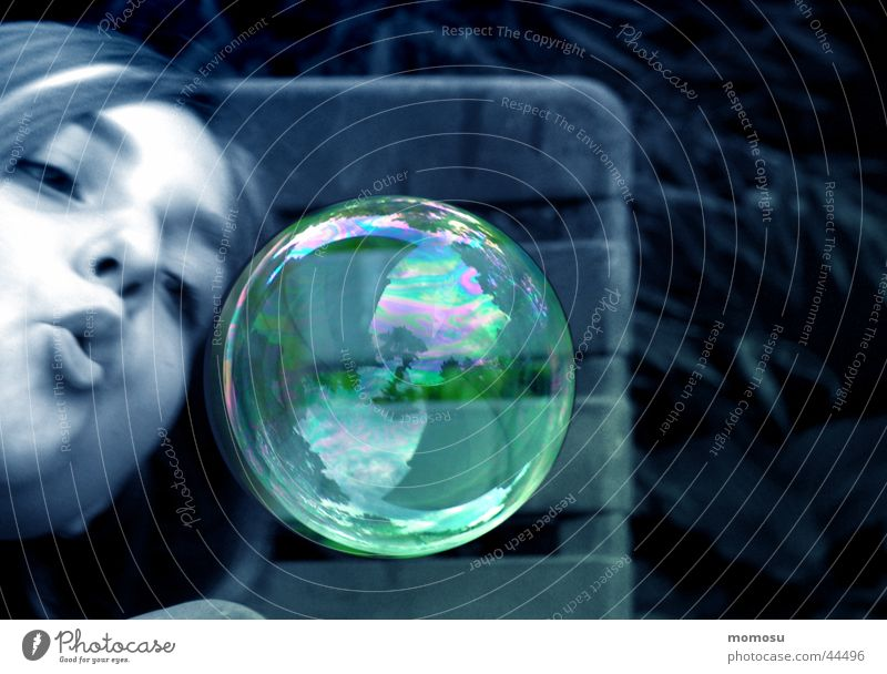 ...like blown away Soap bubble Reflection Air Hover Girl Leisure and hobbies Bubble Flying Blow