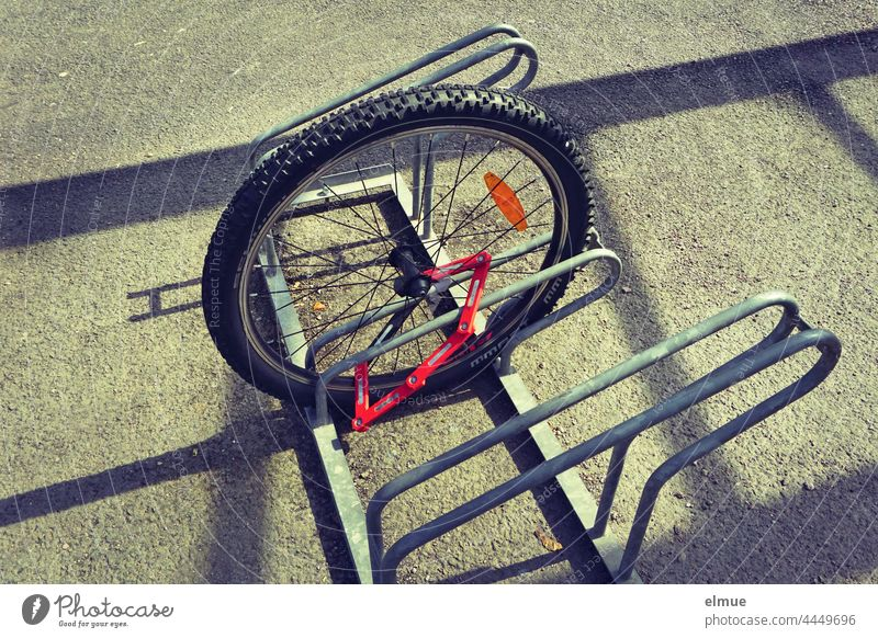 front wheel of a bicycle connected to a bicycle stand / theft / audacity Front wheel Bicycle Audacity brazen Theft Safety insecurity Bicycle rack bicycle lock