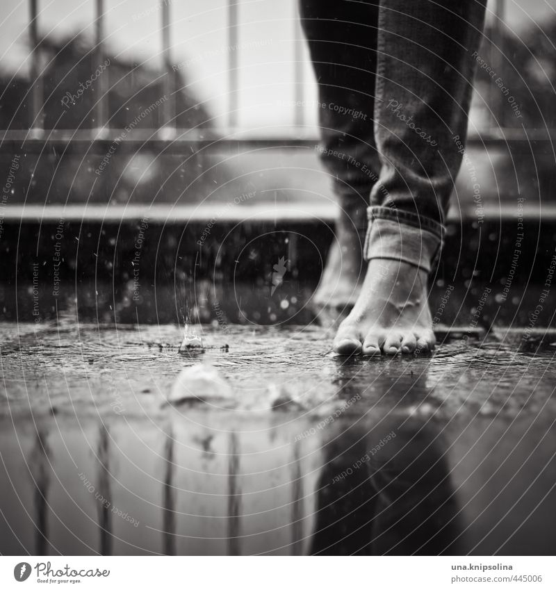Rainy Sunday Woman Adults Legs Feet 1 Human being Water Drops of water Jeans Touch To fall Going Exceptional Uniqueness Wet Calm Joie de vivre (Vitality) Ease