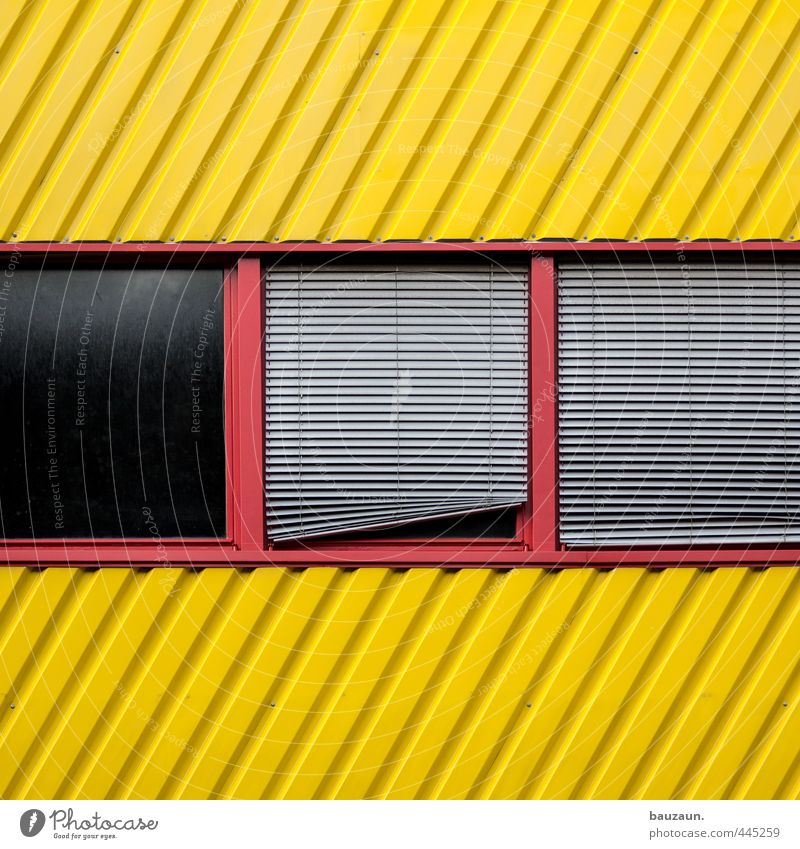 Red Yellow Window Wall (building) Wall (barrier) Building Line Metal Facade Glass Beautiful weather Stripe Industry Logistics Factory Manmade structures