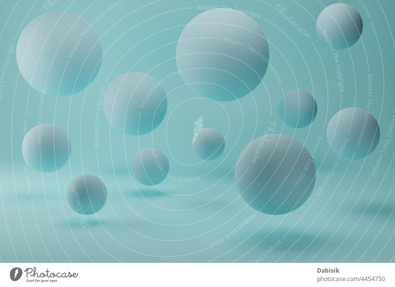 Realistic 3d render with blue flying bubbles spheres on pastel background ball abstract color air circle shape colorful light art template bright clear