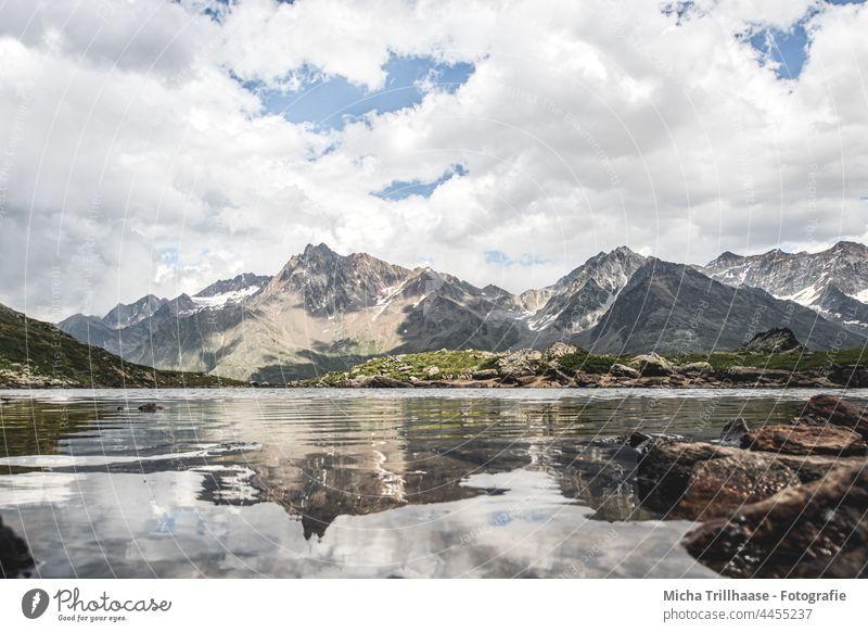 Alpine panorama and lake in Kaunertal / Austria Kaunertal Glacier Tyrol mountains Peak valleys Lake rock Rock Landscape Nature Sky Clouds Sun sunshine travel