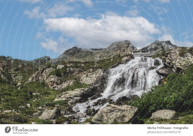 Waterfall in Kaunertal / Austria Riffelbach - Waterfall Tyrol Alps Flow overthrow sb./sth. plummet Landscape Nature Rock Stone stone mountains trees Sky Clouds