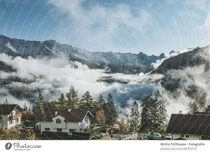 Fog in the Alps / Ladis / Austria Tyrol wafts of mist Place houses Building mountains Mountain Sky Clouds Vacation & Travel Tourism Federal State of Tyrol