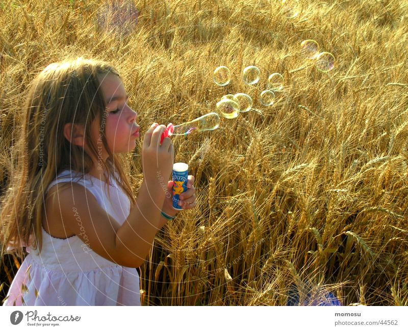 ...blown into the field Girl Soap bubble Field Child Dream Dreamily Grain Hair and hairstyles