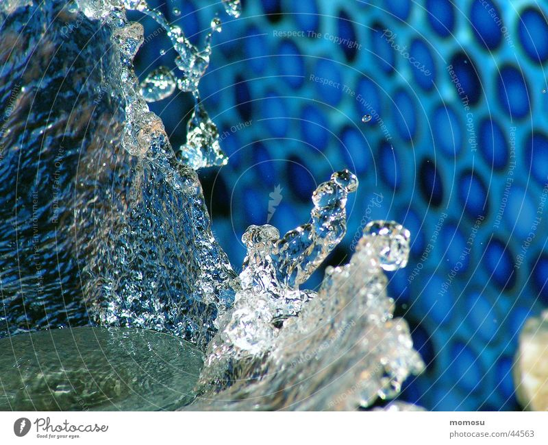 Water Blue Glass Drops of water Wet Clarity Tile Sculpture Basin Fountain