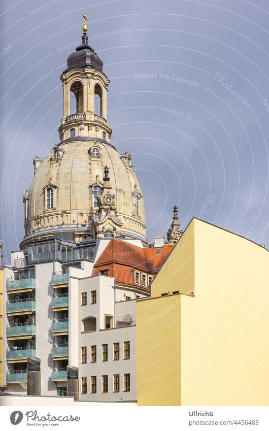 Dresden, Saxony, Germany: Frauenkirche Church and buildings seen from Landhausstraße. architecture church house residential edifice monument landmark