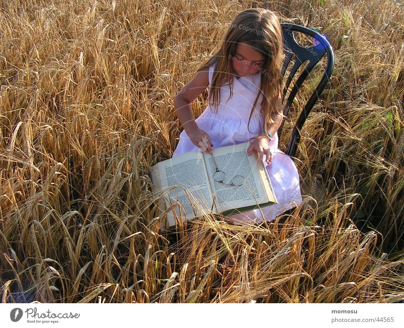 field - study Lorgnon Child Reading Hand Book Girl Summer Armchair Study Hair and hairstyles monocle Grain