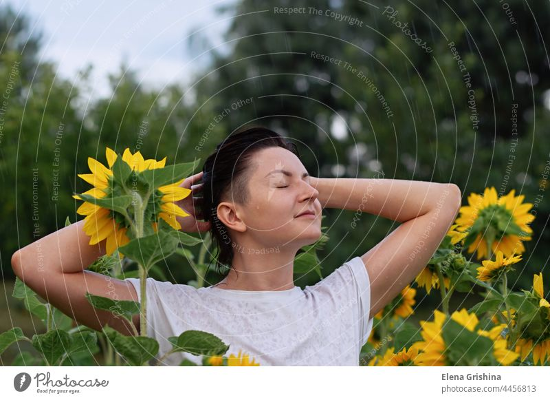 A young girl stands in the summer rain in a field with sunflowers. wet white shirt wet clothes drops happy closed eyes wet hair brunette hands raised natural