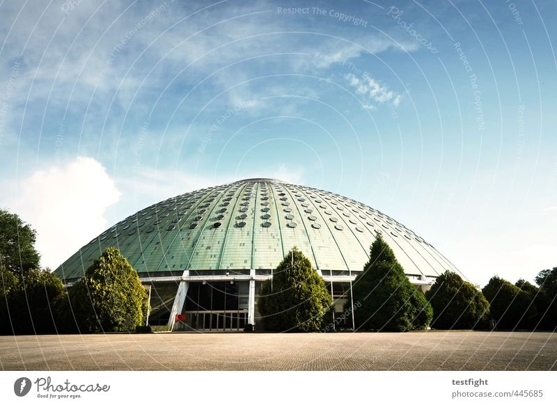 hall Sporting Complex Manmade structures Building Architecture Sports Town Arena Loneliness Derelict Colour photo Exterior shot Copy Space top Light Shadow