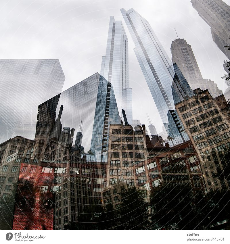 Chicago. USA Downtown Skyline Overpopulated High-rise Town Double exposure Colour photo Exterior shot
