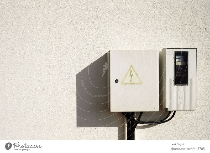 "high voltage Facade ""Power box stream Power supply Arrangement Symbols and metaphors Warning label Electricity Wall (building) Colour photo Exterior shot"