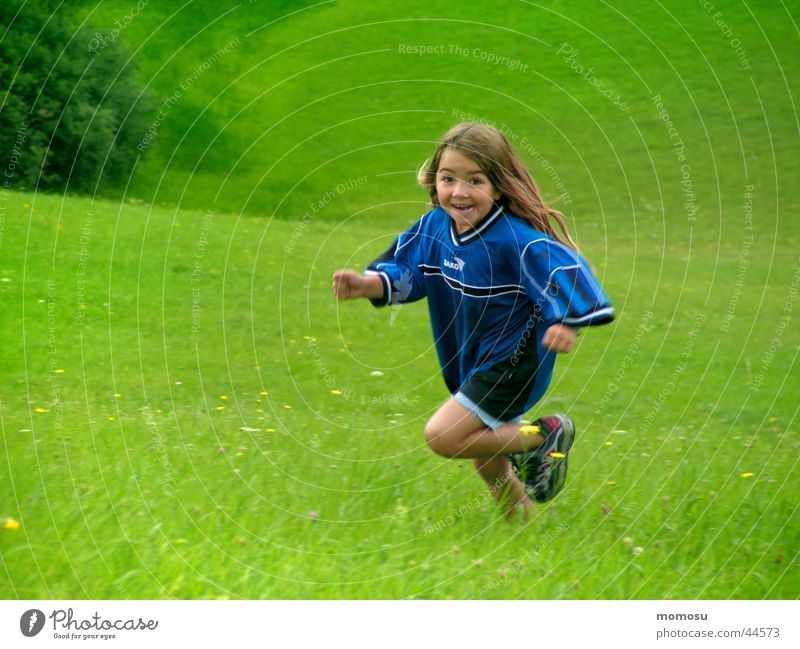 pure life Child Girl Meadow Green Playing Life Energy industry Joy Walking Running Laughter