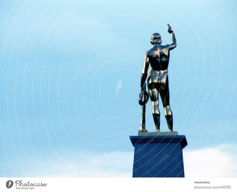 mister antique Statue Man Masculine Pedestal Hero Exhibition Trade fair Sky