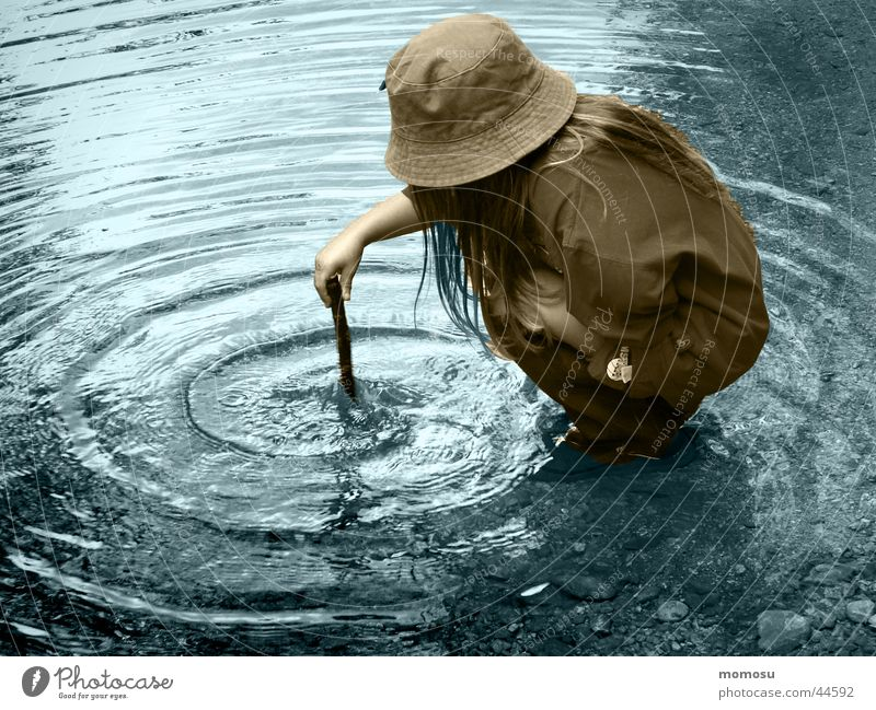 Child Water Girl Blue Circle Brook Magic Rod