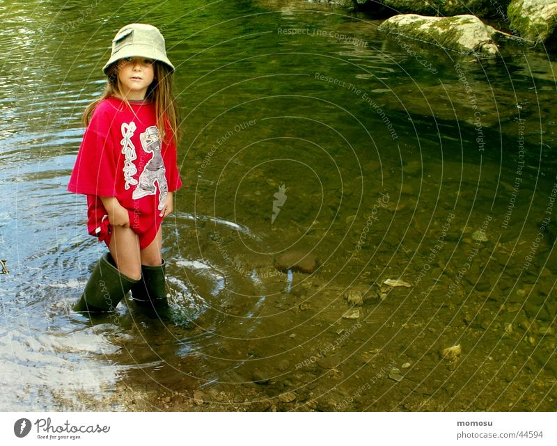 Child Nature Water Girl Summer Joy Vacation & Travel Playing Adventure Brook Rubber boots