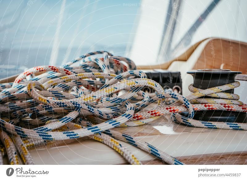 on the high seas - colorful sail rope on a sailing ship Sailboat Sailing Sailing ship Sailing trip Navigation Vacation & Travel Exterior shot Colour photo Yacht