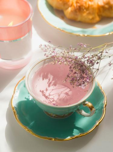 Close up of pink flowers tea in turquoise teacup on sunny breakfast table close up tea time authentic background drink floral healthy natural rose roses summer