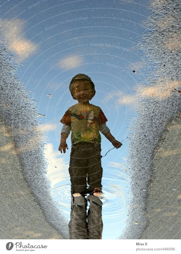 mirror image Playing Children's game Human being Toddler 1 1 - 3 years Water Wet Infancy Swimming & Bathing Puddle Sludgy Litterbug Walking Colour photo