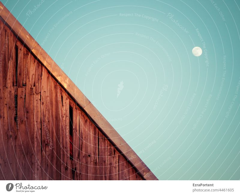 \ moon Moon Sky Moonlight House (Residential Structure) Wood Facade Blue Full  moon Copy Space Landscape Nature