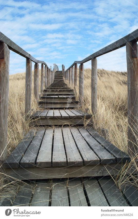 Sky Loneliness Far-off places Wood Stairs Island Infinity Footbridge Beach dune