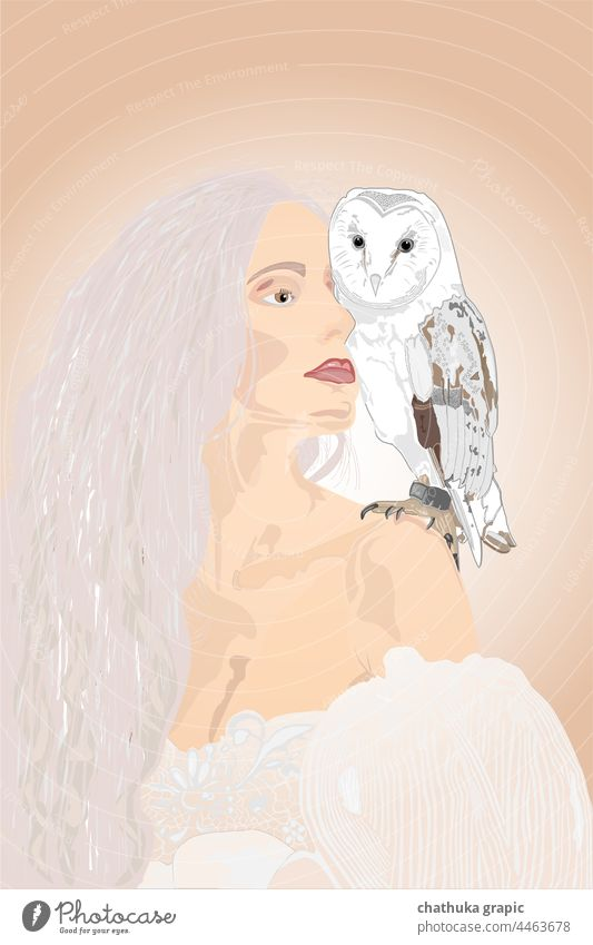 white women with owl Owl birds Bird vector Illustration