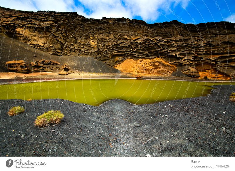 e sky water coastline and summer in el golfo lanzarote Sky Nature Vacation & Travel Blue Green White Summer Ocean Landscape Clouds Beach Yellow Coast Stone Sand