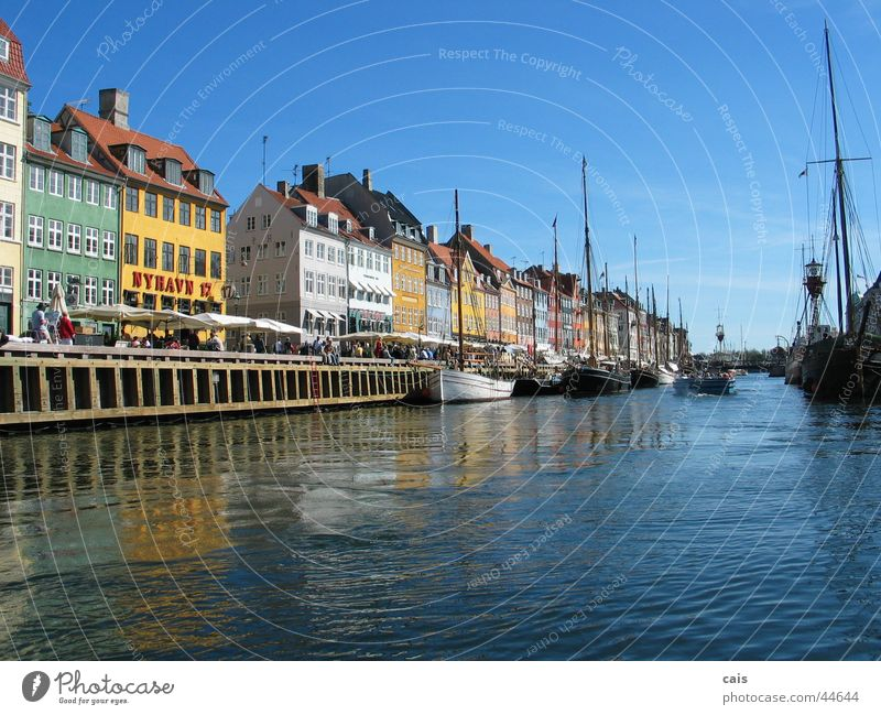 Nyhavn Copenhagen House (Residential Structure) Watercraft Europe Summer Denmark Harbour Old town Human being Sky Sun