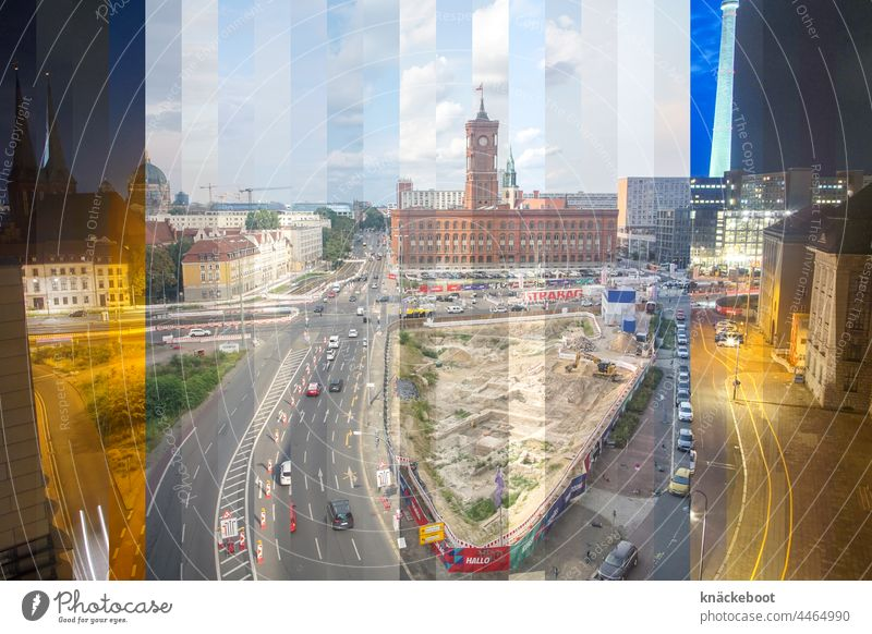 24 hours berlin Berlin Downtown Berlin Landmark Collage Montage Architecture City Town Exterior shot multiple exposure Construction site dairy market Middle