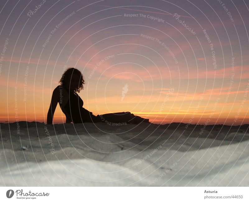 lady in black Sunset Woman Silhouette Violet Black Yellow Blonde Sand Baltic Sea Blue Orange Sky Evening Shadow Curl hot