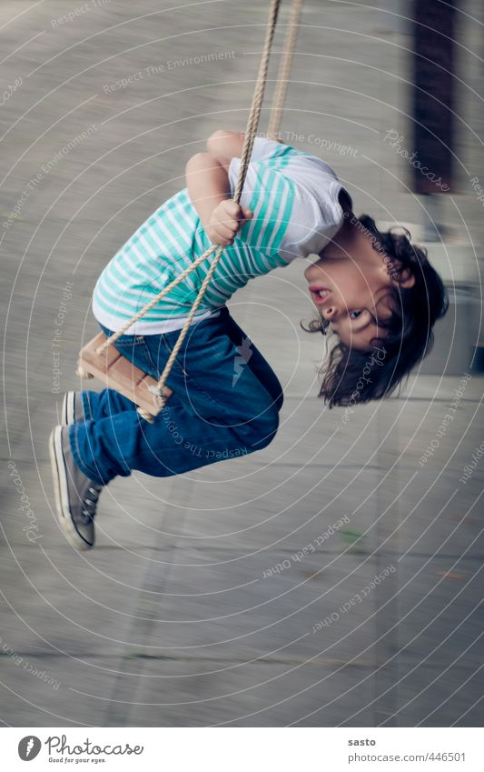 hang out Child Boy (child) Infancy Life 1 Human being 3 - 8 years To swing Playing Curiosity Swing Exterior shot Motion blur
