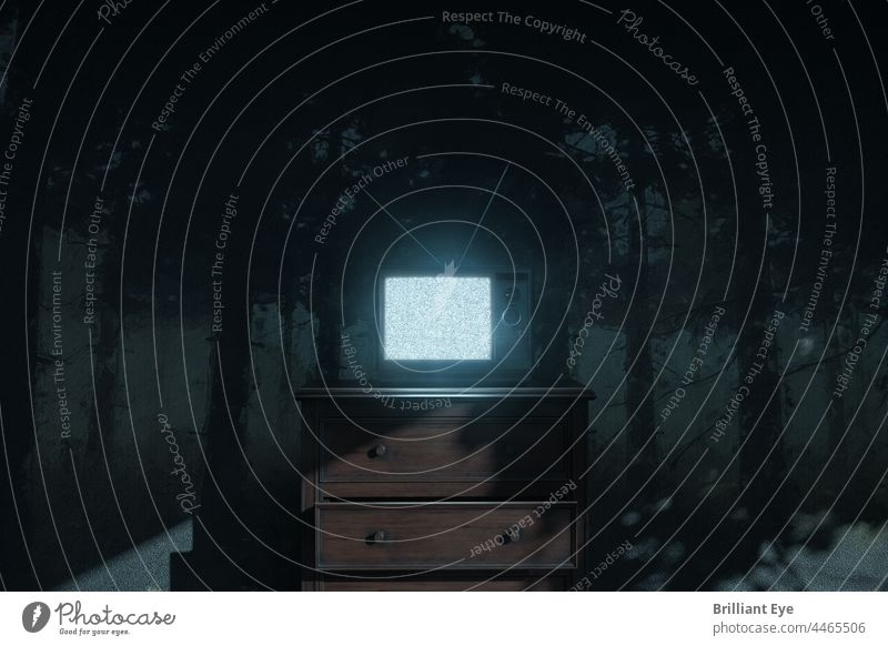 old TV with picture interference is illuminated by moonlight. Concept haunting the room 3D rendering Abstract on one's own background Blue Bright concept Creepy