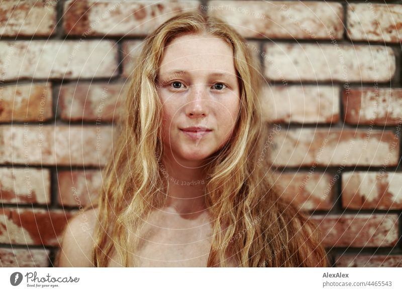 Close up of young woman with freckles and red blonde hair portrait Near proximity Emanation tranquillity vigorous pretty Youth (Young adults) Adults Red-haired